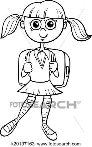 Clipart - escuela primaria, niña, libro colorear k20137163 - Buscar ...