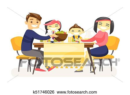 Happy multiethnic family dining at the table. Clip Art ...