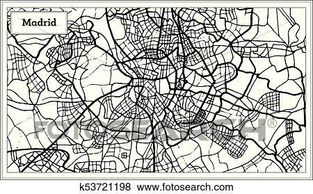 Spanien Karte Schwarz Weiß.Madrid Spanien Landkarte In Schwarz Weiß Color Clip Art