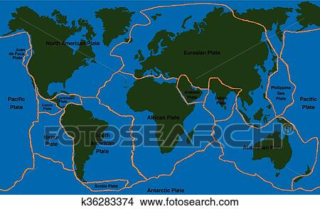 World Map Of Fault Lines.Plate Tectonics World Map Faultline Clipart K36283374