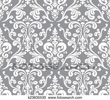 Stock Illustrations Of Vector Seamless Elegant Damask Pattern Grey Beauteous Damask Pattern