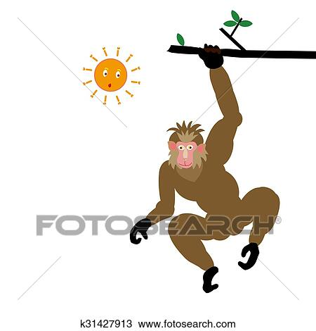 A Brown Monkey Swinging From A Tree Drawing K31427913