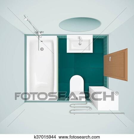 Merveilleux Clipart   Badezimmer, Innere, Draufsicht, Realistisch, Bild. Fotosearch