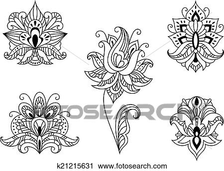 clipart of black and white floral motifs of persian paisleys rh fotosearch ca