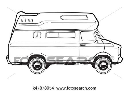 Camping Trailer Car Side View Black And White Vector Illustration