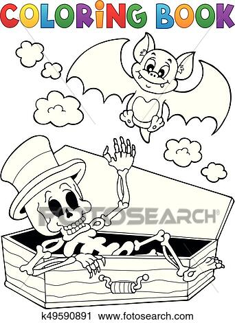 Clipart of Coloring book skeleton and bat k49590891 - Search Clip ...