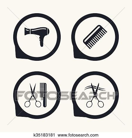 Clipart Of Hairdresser Icons Scissors Cut Hair Symbol K35183181
