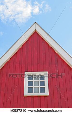 Haus Fassade Rot Himmel Stock Bild
