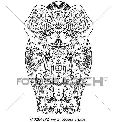clipart of poster with patterned elephant k40284872 search clip