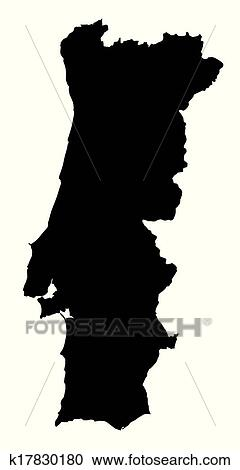 Preto Branco Mapa De Portugal Clipart K17830180 Fotosearch