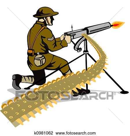 Soldier Firing A Gun Drawing