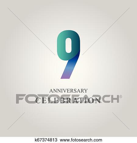 9 Year Anniversary Celebration Vector Template Design Illustration Clipart K67374813 Fotosearch