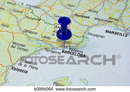 Stock Photo Of Blue Pin Pointing On Barcelona In Map K0995064