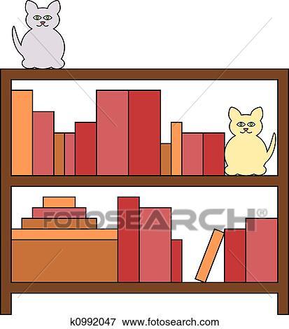 Stock Illustraties - boekenkast, met, poezen k0992047 - Zoek EPS ...