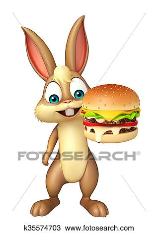 Drawing Of Cute Bunny Cartoon Character With Burger K35574703