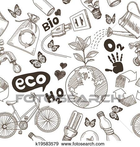 Clip Art Of Green World Drawing Save The Earth K19583579 Search