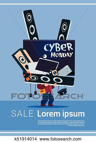 Man Holding Tv Plasma And Modern Electronics Gadgets Cyber Monday Sale Banner Design Concept Clipart K51914014 Fotosearch