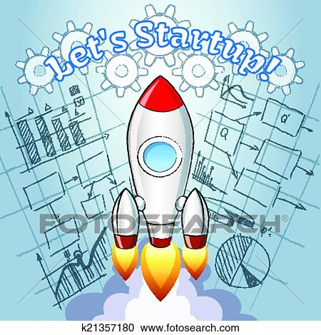Clipart of new project ideas concept k21357180 search clip art new project ideas concept with a cartoon vector rocket turbo boosting into space over a blueprint or diagram of a planned new innovative business project malvernweather Images