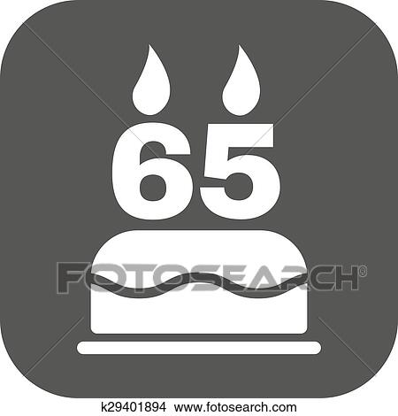 Clipart Of The Birthday Cake With Candles In The Form Of Number 65