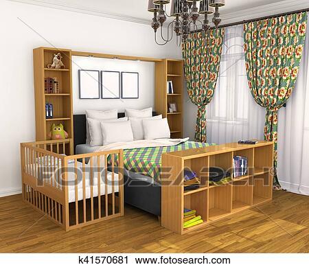 Clipart - chambre à coucher, pour, les, parents, et, les, child ...