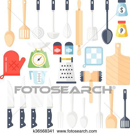 Cocina Herramientas Utensilios Iconos Conjunto Clipart K36568341