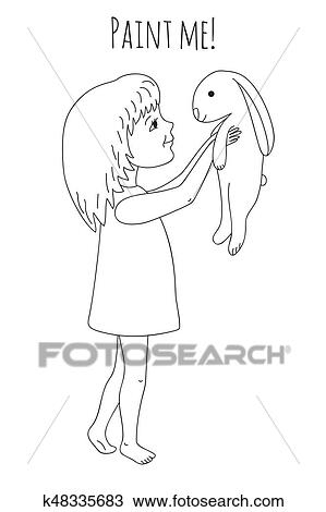 Clipart - colorido, niña, y, conejo k48335683 - Buscar Clip Art ...