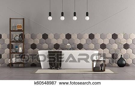 Cuarto de baño, con, bañera, y, hexagonal, azulejos ...