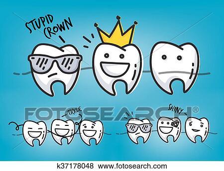 Dentes Fresco Desenhos Animados Azul Clipart K37178048 Fotosearch
