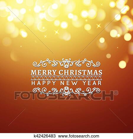 clipart golden merry christmas and happy new year card christmas typographic message vector