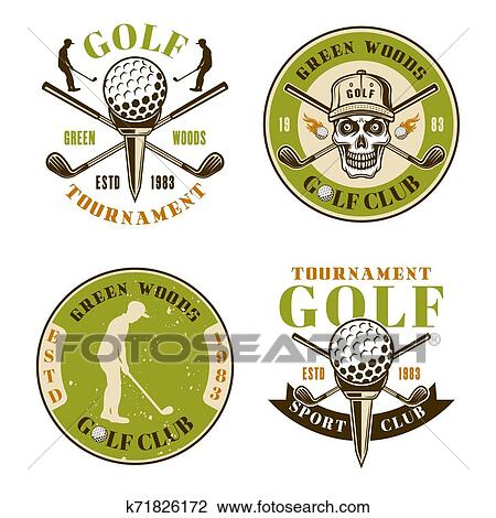 Golf Club Set Of Four Colored Vector Emblems Clipart K71826172 Fotosearch