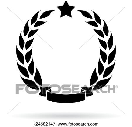 clip art of laurel wreath icon k24582147 search clipart rh fotosearch com gold laurel wreath clipart laurel wreath clipart png
