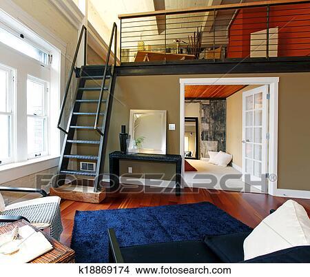 Reconstructed, moderner lebensunterhalt, zimmer, mit, mezzanine, bereiche  Bild