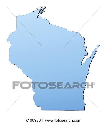 Wisconsin(USA) map Stock Illustration | k1009864 | Fotosearch