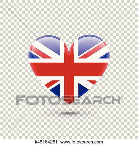 Clipart - bandera inglesa, corazón, icono, en, transparente, plano ...