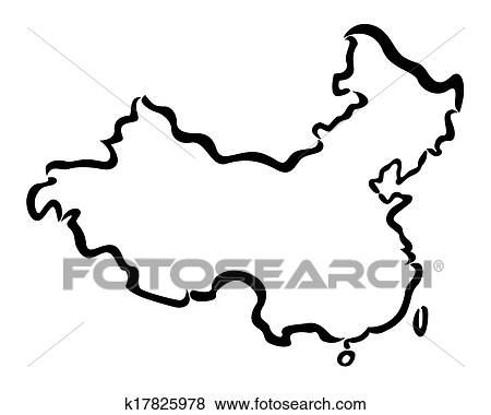 Clip Art Of Black Abstract Outline Of China Map K17825978