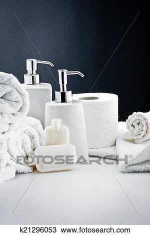 Blanco, accesorios, cuarto de baño, higiene Colección de ...