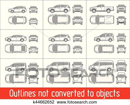 Clipart   Car Sedan And Suv And Van All View Drawing Outlines Not Converted  To Objects
