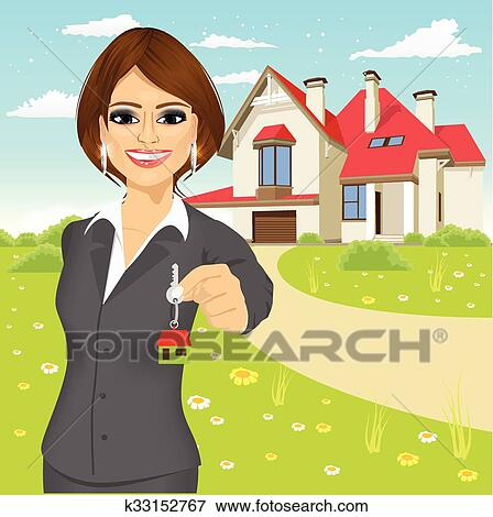 288de4974eedd1 Femme, agent immobilier, tenue, les, clã©, de, a, nouvelle maison Clipart