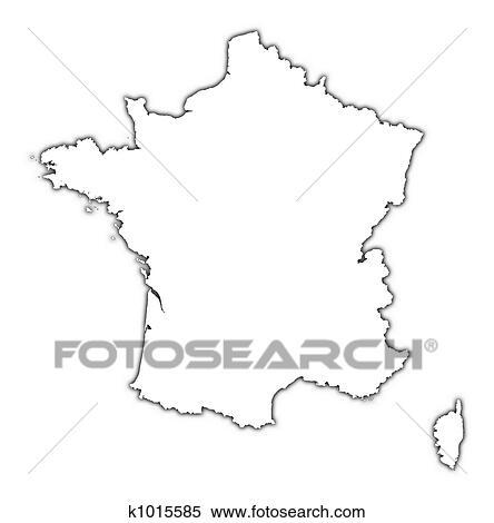 Outline Of Map Of France.France Outline Map Stock Illustration