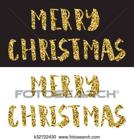 Frohe Weihnachten Glitzer.Frohe Weihnacht Schriftzug Design Gold Glitzer Text Weiß Und Schwarzer Hintergrund Stock Fotografie