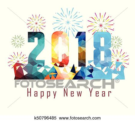 clipart happy new year 2018 with firework background fotosearch search clip art