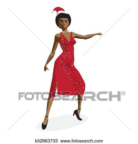 Mujer de vestido rojo caricatura