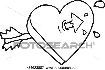 clipart noir blanc dessin anim fl che par coeur. Black Bedroom Furniture Sets. Home Design Ideas