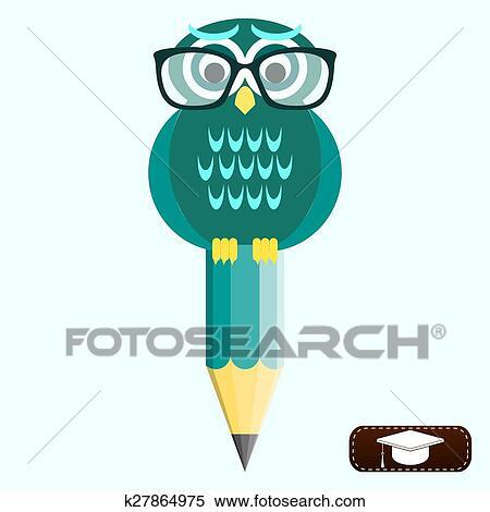 Sabio Coruja Em Oculos Com Lapis Universidade Graduacao