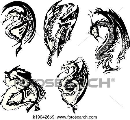 Clip Art - satz, von, schwarz weiß, drachen k19042659 - Suche ...