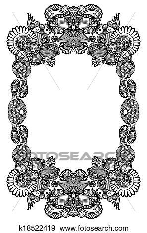 Clip Art - schwarz weiß, blumen-, rahmen k18522419 - Suche Clipart ...