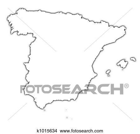 Spain Outline Map Stock Illustration K1015634 Fotosearch