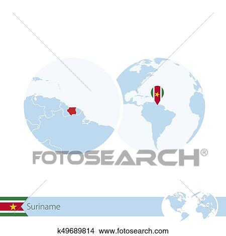 Clipart Of Suriname On World Globe With Flag And Regional Map Of
