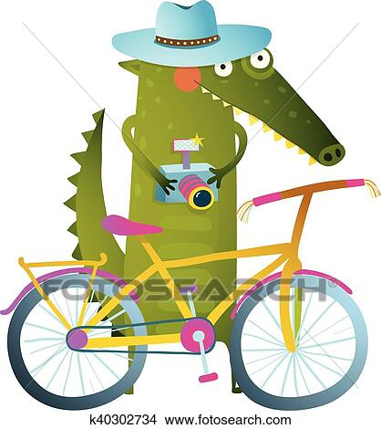 clipart of traveling crocodile tourist with suitcase camera bicycle rh fotosearch com traveling clipart free travel clip art pictures