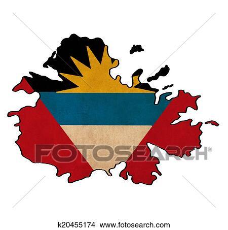Drawings of Antigua and Barbuda map on Antigua and Barbuda flag ...